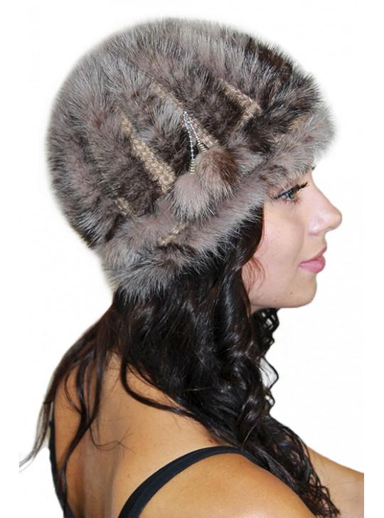Купить шапку из вязаной норки \