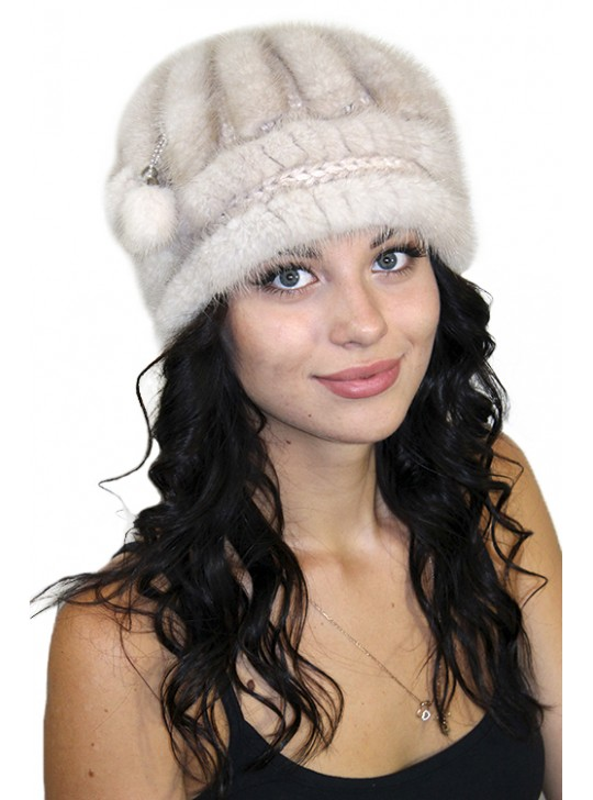 "Норковая вязаная шапка ""Зефирка"""