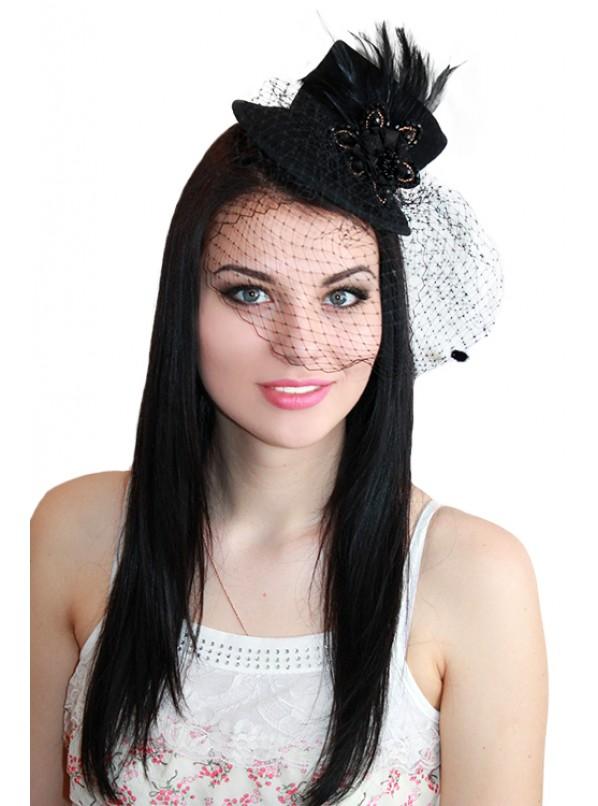 "Мини-шляпка с вуалью ""Алиса"""