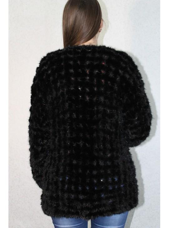 Меховая жилетка черная